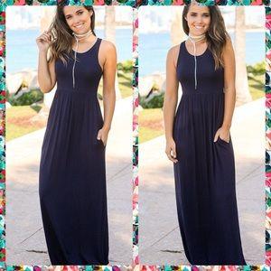 MADDIE Navy Hidden Pocket Maxi Dress!